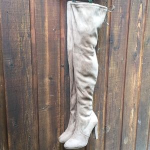 Shoes - New Super Cute Faux Suede Thigh High Heeled Boots!